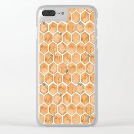 Honey Bee Hexagons Clear iPhone Case