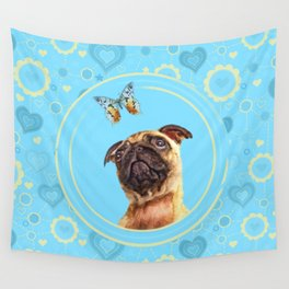 Cute Pug puppy and Butterfly Wall Tapestry