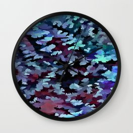 Foliage Abstract Camouflage In Aqua Blue and Black Wall Clock