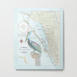 Sarasota & Siesta Key Area Map Metal Print