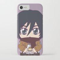 shingeki no kyojin iPhone & iPod Cases featuring Shingeki no Kyojin - Chibi Mikasa Flats by Tenki Incorporated
