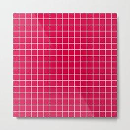 Carmine (M&P) - fuchsia color - White Lines Grid Pattern Metal Print