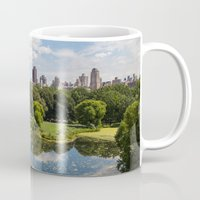 central park Mugs featuring Central Park by Graham Dunk