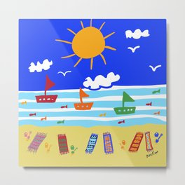 Naive Beach - Blue & Gold  Metal Print