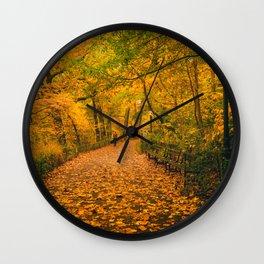 New York City Autumn Dusk in Central Park Wall Clock