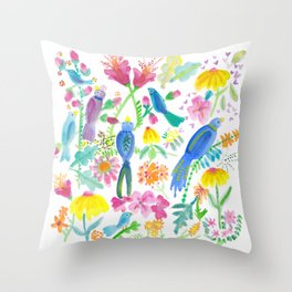 Bird Garden I Throw Pillow