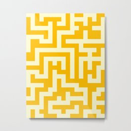 Cream Yellow and Amber Orange Labyrinth Metal Print
