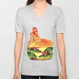 Pin Up Burger Meal Unisex V-Neck