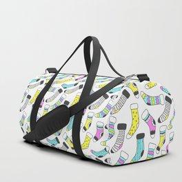Geometrical tribal pink yellow aqua black christmas socks Duffle Bag