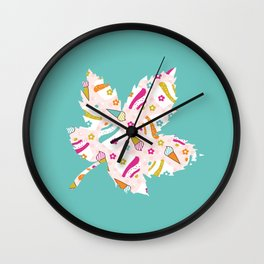 Turquoise Leaf , nursery decor , children gift, birthday gift Wall Clock