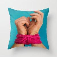 bondage Throw Pillows featuring Bondage Heart Hands by Mel Had Tea