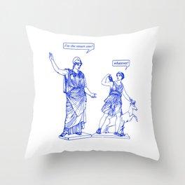 GODDESS STATUS  blue Throw Pillow