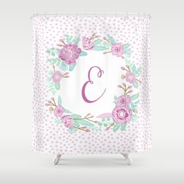 Monogram E - cute girls purple florals flower wreath, lilac florals, baby girl, baby blanket Shower Curtain