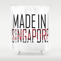 singapore Shower Curtains featuring Made In Singapore by VirgoSpice