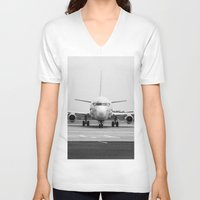 airplane V-neck T-shirts featuring Airplane  by Gustavo Aragundi