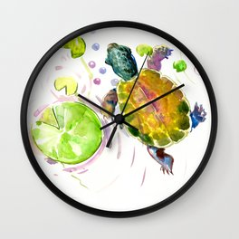 Little Turtle and Lily Pads Wall Clock