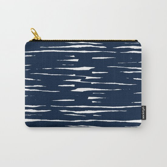 Maritime pattern- darkblue handpainted stripes on clear white- horizontal Carry-All Pouch