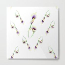 Beautiful yellow purple flower pattern with shape of heart Metal Print