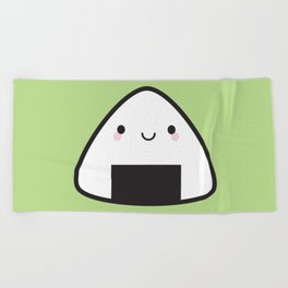 Kawaii Onigiri Rice Ball Beach Towel