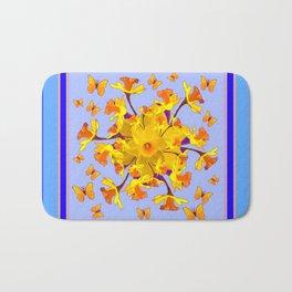 Blue Butterfly & yellow Daffodils Pattern Bath Mat