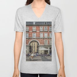 Relaxing cup in Plaza Mayor, Madrid Unisex V-Neck