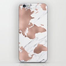 Marble World Map Rose Gold Pink iPhone Skin