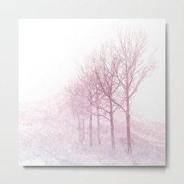 Pink winter trees Metal Print