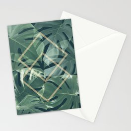 Earthly Green Monsteras Stationery Cards
