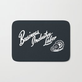 Business Industry Labor in White with Gears Bath Mat