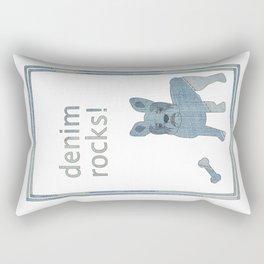 Denim Rocks French Bulldog Rectangular Pillow