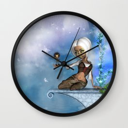 Cute fairy with fantasy bird Wall Clock