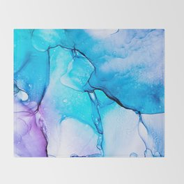 Abstract Alcohol Ink Painting -  Unicorn at Night Throw Blanket