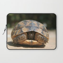 Young Spur Thighed Tortoise Looking Out of Its Shell Laptop Sleeve