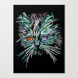 Odd-Eyed White Glowing Cat Canvas Print