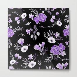 Lavender & Black Pattern Metal Print