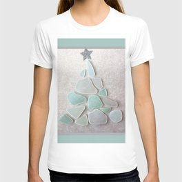 Sea Foam Sea Glass Christmas Tree #Christmas #seaglass T-shirt