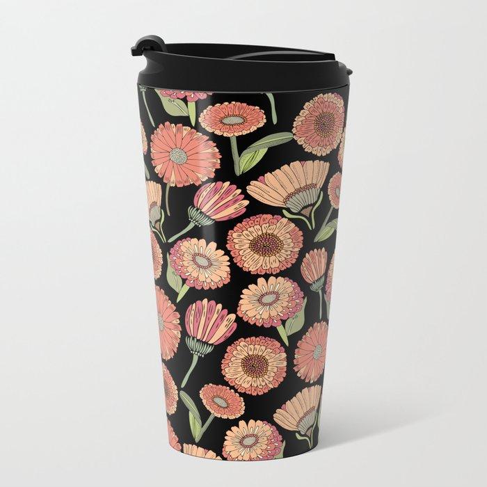 Vintage Florals Metal Travel Mug