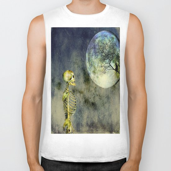 Skeleton in clear of the moon Biker Tank