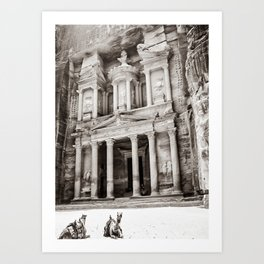 Camels at Petra | Black and White Stunning Stone Monument Hidden Lost City Treasury Carved Cliff Art Print