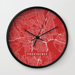 Providence Map, USA - Red Wall Clock