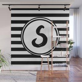 S Striped Monogram Letter Wall Mural