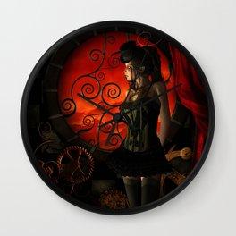 Steampunk, wonderful steampunk lady in the night Wall Clock
