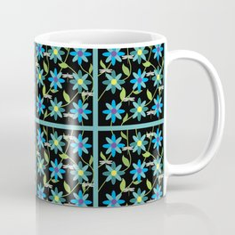 Flower and Dragonfly Tiled Design with Black Background Coffee Mug