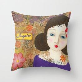 Inspire, Mixed Media Artwork Throw Pillow