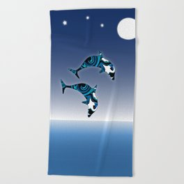 Blue Dolphins Jumping for Joy Beach Towel