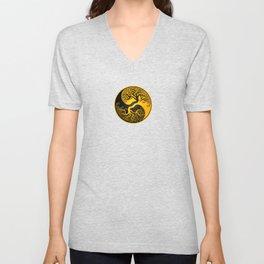 Yellow and Black Tree of Life Yin Yang Unisex V-Neck