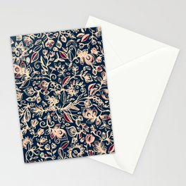 Navy Garden - floral doodle pattern in cream, dark red & blue Stationery Cards
