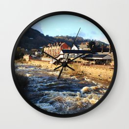 Llangollen Railway Station by the River Dee, Wales Wall Clock