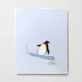 penguin snowboarding Metal Print