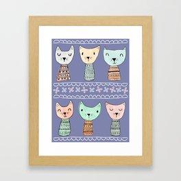 Kokeshi Kitties with Purple Background Framed Art Print